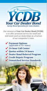 Motor Vehicle Bonds for a California Car Dealer are either $10,000 or $50,000